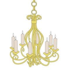 cartoon image of old chandelier