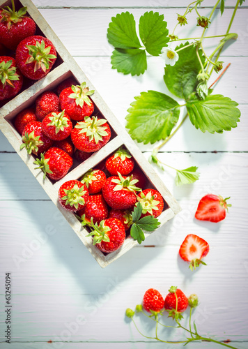 Display of delicious ripe red strawberries