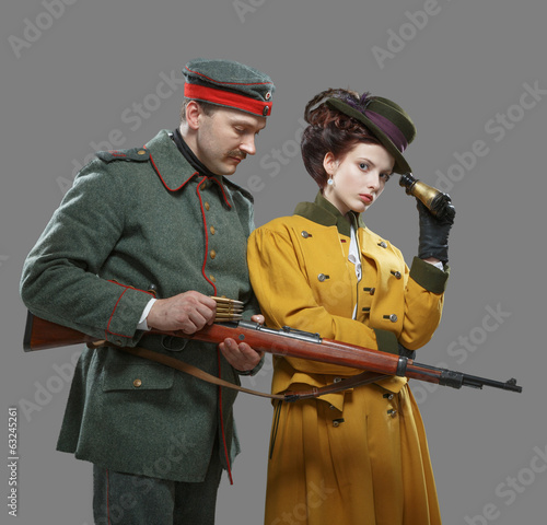 A German soldier with the lady on the hunt