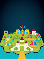 vector background with image of amusement park