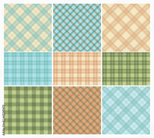 Set of Vintage Colorful Seamless Geometric Plaid Backgrounds