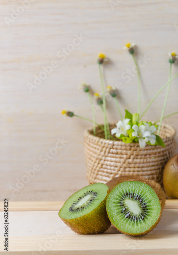 Juicy kiwi fruits still life