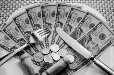 Cutlery and money