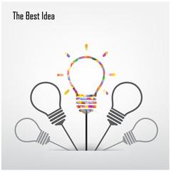 Creative light bulb  and the best idea concept