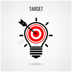Creative light bulb and target concept