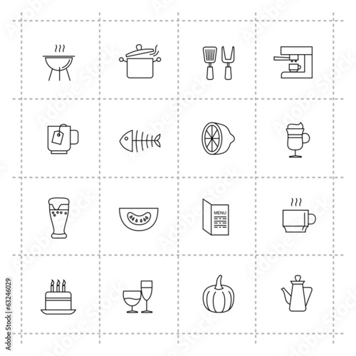 vector food icons set on wite background