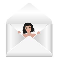 busta da lettera con ragazza che sbuca