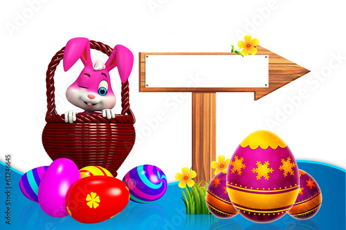 cute easter bunny with wooden sign