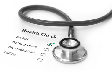 Health checklist and a stethoscope