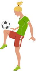 Blond teenage girl playing football