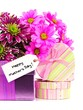 Happy Mother Day tag with colorful flowers and gift boxes