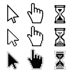 Vector illustration hand cursor hourglass.