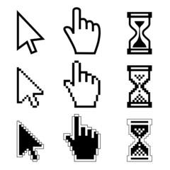 Vector illustration hand cursor hourglass.