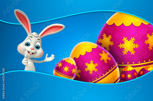 cute easter bunny with colorfull eggs