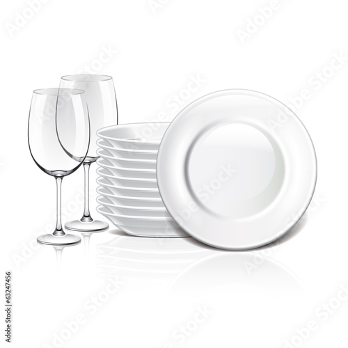 White crockery vector illustration