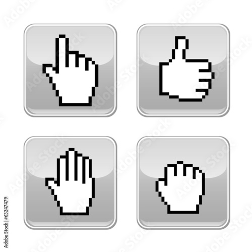 Pixel hand icons.  Mobile application design.