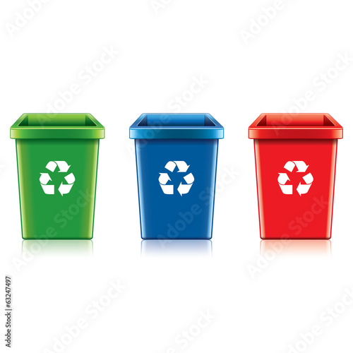 Plastic recycle bin set vector illustration