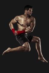 Man practicing body combat