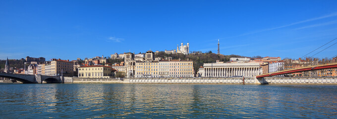 Panoramic view of Lyon city with blue sky