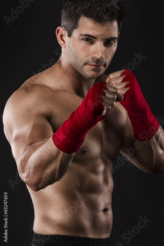 Man practicing body combat