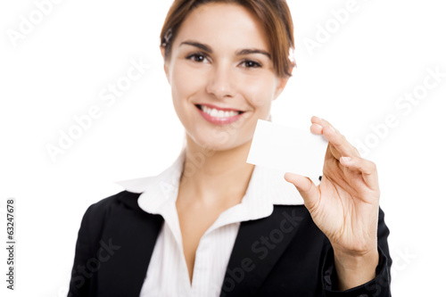 Businesswoman holding  a business card
