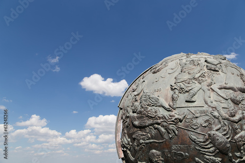 Celestial globes-- near Monument of Sovjet space flight
