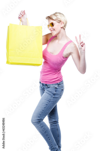 Relaxed young woman shopping