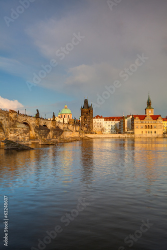 View from   Kampa on the famous Charles Bridge at spring sunset.