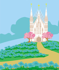 landscape with a beautiful Catholic church