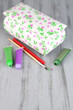 Beautiful hand made casket and art materials on wooden table