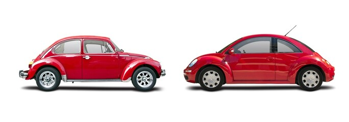 Old and new red  VW Beetle