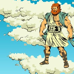 Mighty Zeus in thunderclouds. Comics. Illustration. Vector