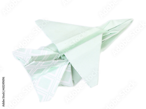 Origami airplane isolated on white