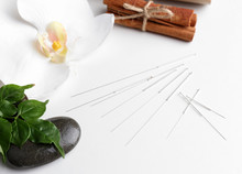 """Постер, картина, фотообои """"Composition with needles for acupuncture, isolated on white"""""""