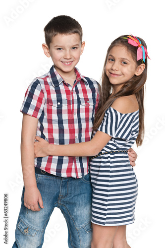 Two fashion cheerful kids