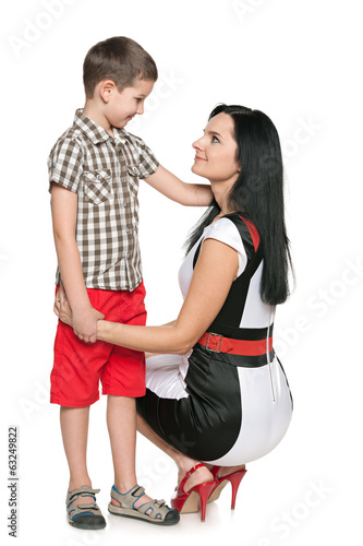 canvas print picture Little boy and his mother