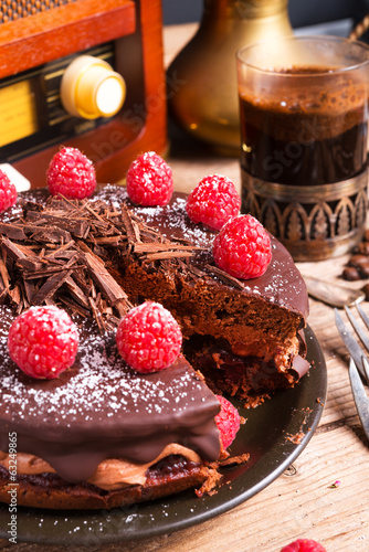 chocolate cake and Turkish coffee - vintage style