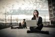 urban girls with laptop