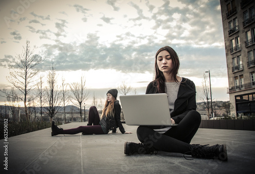 urban girls with laptop