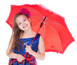 girl with umbrella posing in studio.