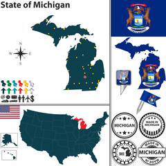 Map of state Michigan, USA