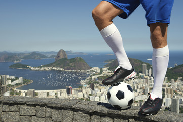 Brazilian Soccer Football Player Standing At Rio Skyline