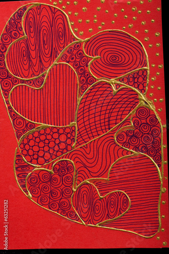 Valentines day card with red  hearts