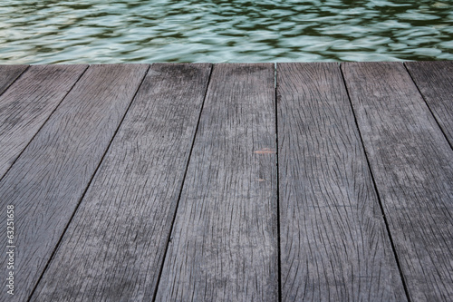 Water With Old Wooden Bridge