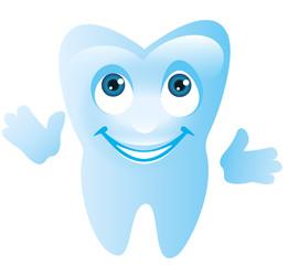 Character lächelnder Zahn mit Gesicht