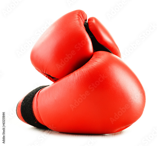 Leather boxing gloves isolated on white