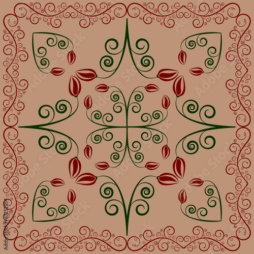 carpet with flowers and leaves on coffee latte background
