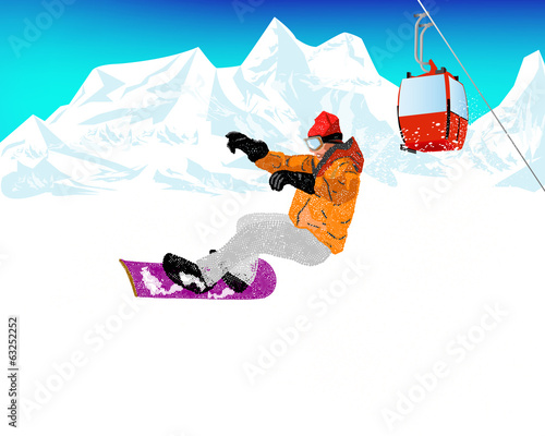 Mountain skiing.Extreme Snowboard.Vector