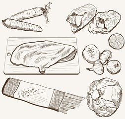 vector ingredients products sketch set
