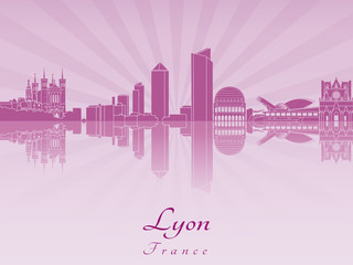 Lyon skyline in purple radiant orchid